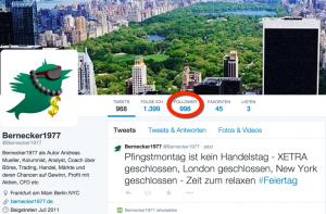 Fast 1000 Follower auf Twitter