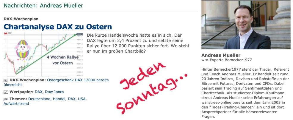 Wochenanalyse jeden Sonntag, hier und auf wallstreet-online.de